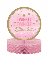 Centre de table Twinkle fille rose et doré One Little Star 23 x 30.5 cm