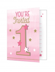 8 Cartes d'invitation premier anniversaire fille One Little Star 10 x 12 cm