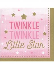 16 Serviettes Twinkle fille rose et doré One Little Star 33 x 33 cm