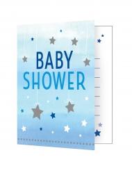 8 Cartons d'invitation Baby Shower One Little Star bleu 10 x 12 cm