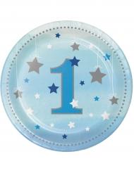 8 Petites assiettes premier anniversaire garçon One Little Star 18 cm