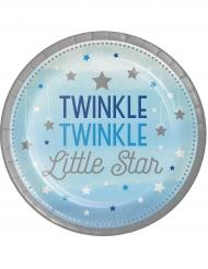 8 Assiettes bleues et argentées Twinkle One Little Star 23 cm