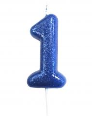 Bougie 1 an bleue pailleté 7 cm