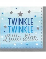 16 Serviettes Twinkle garçon bleues et argentées One Little Star 33 x 33 cm