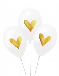 3 Ballons latex biodégradable Coeurs 27 cm