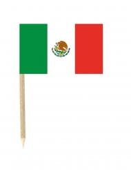 Lot de 50 drapeaux mini-piques Mexique 3 x 5 cm