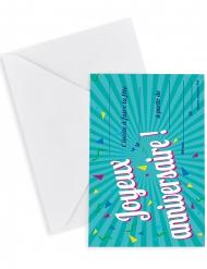 6 cartes d'invitation avec enveloppes Joyeux Anniversaire