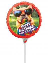 Ballon aluminium sur tige Happy Birthday chien rigolo 23 cm