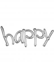 Ballon aluminium Argent Happy 104 x 50 cm