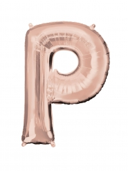 Ballon aluminium Lettre P rose gold 60 x 81 cm
