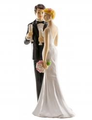 Figurine mariés champagne 16 cm
