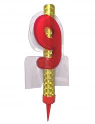 Fontaine lumineuse numéro 9 rouge 12 cm