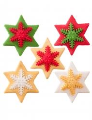 5 Décorations pour gâteau étoile en sucre 5,5 cm