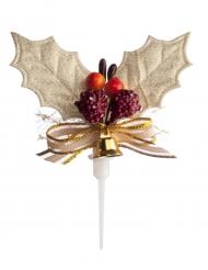 Pique décoratif Houx de Noël doré 5 cm