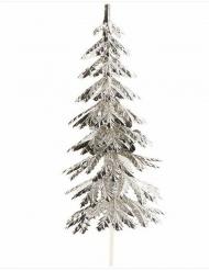 Décoration pique Sapin de Noël argenté 9 cm