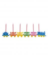 Décoration gâteau Trains colorés avec bougies 26,5 cm