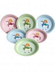6 Assiettes en carton Princesse 23 cm
