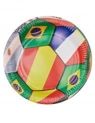 6 Assiettes en carton Football 23 cm