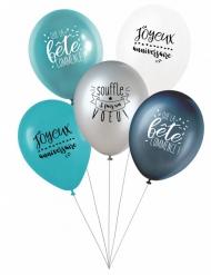 5 Ballons latex biodégradable Fais un voeu en bleu 27 cm