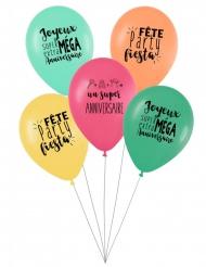 5 Ballons latex biodégradable Super anniversaire coloré 27 cm