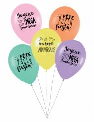 5 Ballons latex biodégradable Super anniversaire pastel 27 cm