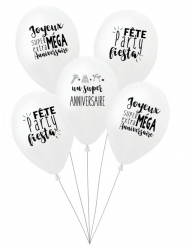 5 Ballons latex biodégradable Super anniversaire blancs 27 cm