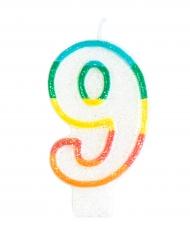 Bougie d'anniversaire chiffre 9 7,5 cm