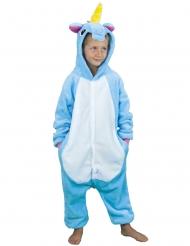 Déguisement combinaison licorne bleue enfant