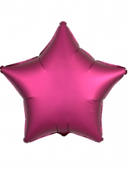 Ballon effet satin fuschia étoile 45 cm