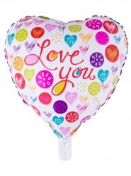 Ballon aluminium coeur coloré Love you 52 x 46 cm