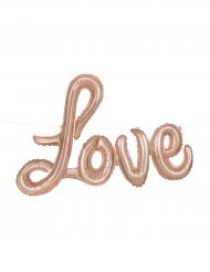 Ballon en bannière aluminium Love rose gold 35 cm