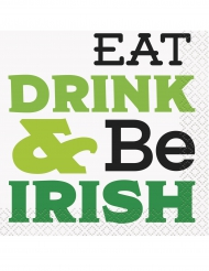 16 Serviettes de cocktail Eat, Drink & Be Irish 25 x 25 cm