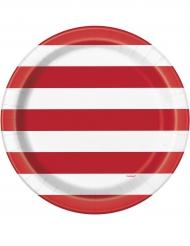 8 Assiettes en carton rayures rouge et blanc 23 cm