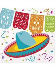 16 Serviettes en papier Chapeau Mexicain 33 x 33 cm