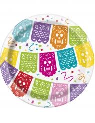 8 Petites assiettes Fiesta Mexicaine en carton 18 cm