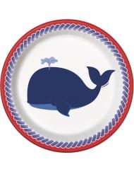 8 Petites assiettes Baleine bleue en carton 18 cm