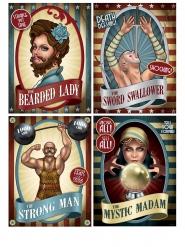 Lot de 4 affiches de Cirque Vintage