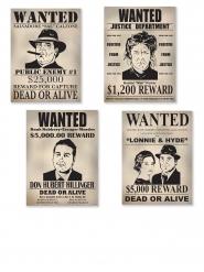 Lot de 4 affiches Wanted