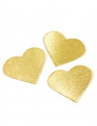 24 Cœurs effet métal doré 5,5 cm