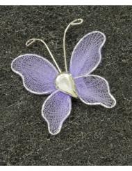 10 Petits papillons décoratifs parme 3 cm