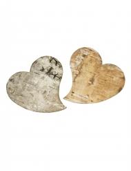 10 cœurs en écorce de bois 5,4 x 5,7 cm