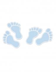 10 Confettis en bois Pied de bébé bleu