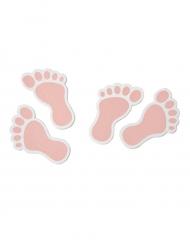 10 Confettis en bois Pieds de bébé rose
