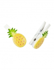 6 Pinces décoratives Ananas en résine 3,5 x 2 cm