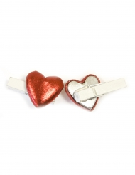 6 Pinces décoratives Cœur effet métal rouge 0,8 x 3,5 cm