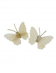 2 Pinces décoratives Papillon effet lin 8,5 cm