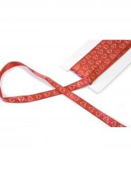 Ruban en satin avec cœur pailleté rouge 10 mm x 4 m