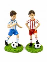 Joueur de foot bleu ou rouge en résine 6 cm aléatoire