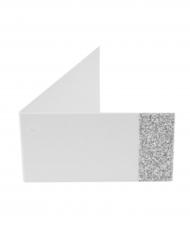 6 Étiquettes papier unies pailletées argenté 9 x 2,5 cm