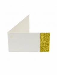 6 Étiquettes papier unies pailletées doré 9 x 2,5 cm